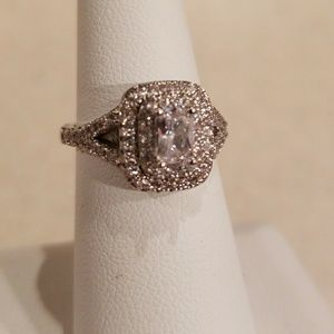 New 14k WGF White Sapphire Ring Size 6.5